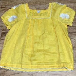 J Crew Yellow Linen Top Size Large